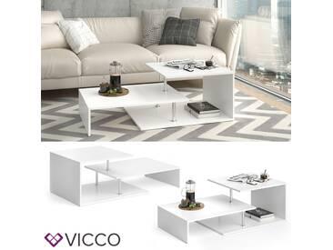 VICCO Couchtisch Palermo Weiß 120 cm Sofatisch Kaffeetisch Beistelltisch Ablage