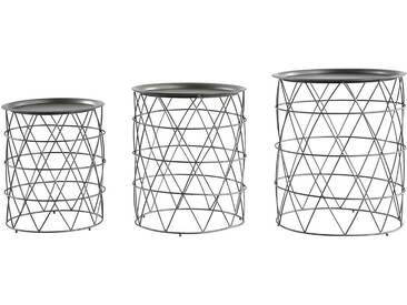 Miliboo - Satztische Couchtische mit herausnehmbaren Platten aus Stahl Schwarz (3er-Set) TREKEN