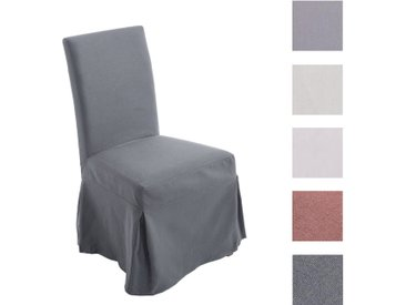 CLP Esszimmerstuhl HUSSEL mit abnehmbarer Husse | Polsterstuhl mit Eichenholzgestell | Lehnstuhl inklusive Stuhlhusse | In verschiedenen Farben erhältlich dunkelgrau