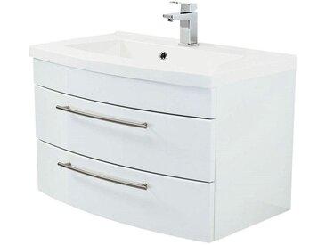 Waschtisch mit Unterschrank 80cm LUINO-02 weiß Hochglanz mit Mineralguss-Becken B/H/T 82/53/49cm
