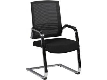 Möbilia® Stuhl Freischwingerstuhl Besprechnungsstuhl 58 cm breit Bezugsstoff schwarz BONN