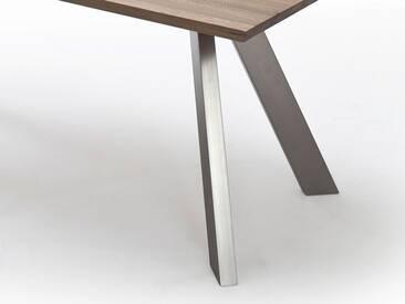 MCA furniture Milton Esstisch Eiche massiv gekälkt & Nickel 100x220 cm