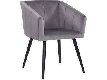 Duhome Esszimmerstuhl Armlehnstuhl Sessel Stoff Samt in Grau Retro Design