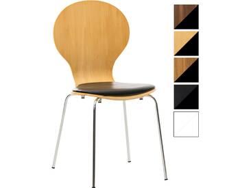 CLP Stapelstuhl DIEGO mit Kunstledersitz und stabilem Metallgestell I Platzsparender Konferenzstuhl mit ergonomisch geformter Sitzfläche natura/schwarz