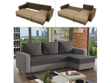 Mirjan24 Ecksofa Vibo, Stilvoll Eckcouch mit Bettkasten und Schlaffunktion, L-Form Couch, Schlafsofa vom Hersteller (Lux 05 + Lux 06)