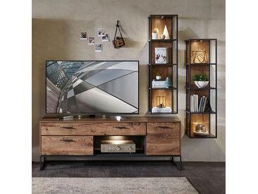 Industrial TV-Wohnwand Set in Haveleiche Cognac mit graphit MINNEAPOLIS-55 inkl. LED-Unterbaubeleuchtung BxHxT: ca. 295x195x48cm