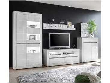 Wohnwand Carat - Weiß Hochglanz - Variante 7 mit Unterbaubeleuchtung