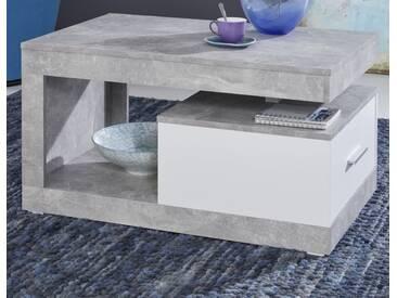 Couchtisch Universal in Stone Beton Design grau und weiß Wohnzimmertisch 90 x 55 cm mit Schubkasten und Ablage - Trendteam 110013335