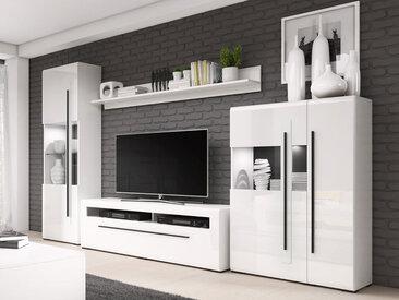 Mirjan24 Wohnzimmer-Set Tulsa II, Wohnwand, TV-Lowboard, Kommode, Wandregal, TV-Möbel (Farbe: Weiß / Weiß Hochglanz, ohne Beleuchtung)