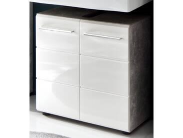 Waschbeckenunterschrank NanoBad Beton Stone Melamin Weiß Hochglanz