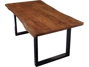 Sit-Möbel, Esstisch, Baumkantentisch 140x80 cm, Platte 26 mm, nußbaumfarbig