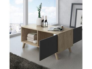 Home Innovation - Couchtisch mit Türen, Esszimmer, Modell WIND, Strukturfarbe Puccini, Türfarbe anthrazitgrau, Maße 92x50x45cm hoch.