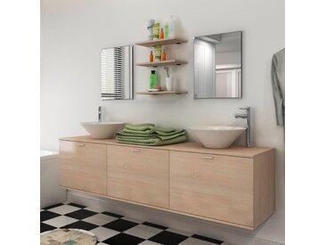 Reasel-de 10-tlg. Badm?bel-Set mit Waschbecken und Wasserhahn Beige