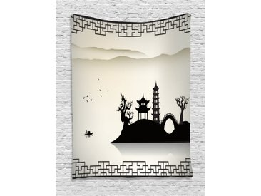ABAKUHAUS Antikes China Wandteppich, Moderne Landschaft, Wohnzimmer Schlafzimmer Heim Seidiges Satin Wandteppich, 100 x 150 cm, Beige Schwarz