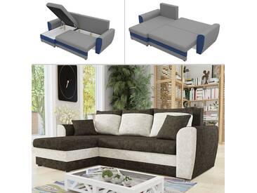 Mirjan24 Ecksofa Domo Lux,  Eckcouch mit Bettkasten und Schlaffunktion, L-Form Sofa, Seite Universal, Design Ecke vom Hersteller (Argo 214 + Argo 211)