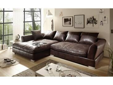 Big Sofa Vintage Kunstleder Leder Ecksofa Dunkelbraun LINKS Bigsofa verschiedene Farben