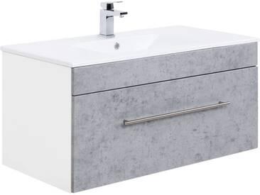 Badezimmer Keramik Waschtisch mit Unterschrank LAGOS-02 100cm Beton Nb., B x H x T ca. 100 x 49,7 x 47,5cm