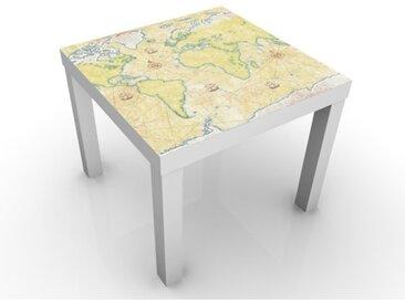 Kindertisch World Map - Tisch Beige Creme, Tischfarbe:schwarz, Größe:55 x 55 x 45cm