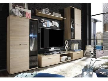Wohnwand Salsa, Design Mediawand, Modernes Wohnzimmer-Set, Stilvoll Anbauwand, Vitrinen mit Glasböden (ohne Beleuchtung, Sonoma Eiche)
