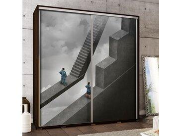 Selsey - Kleiderschrank ABSTRAKTE TREPPE 2-türig mit Schiebetüren und Mann und Frau Motiv, Korpus in Holzoptik/Wenge, 205cm