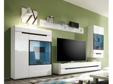 Wohnwand Anbauwand Wohnzimmer Laminat weiß/weiß Hochglanz