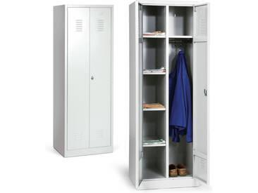 PROTAURUS Spind Kleider-Wäsche-Schrank 1800 x 600 x 500 mm Trennwand mit 4 Fächern aus Metall grau Spindschrank