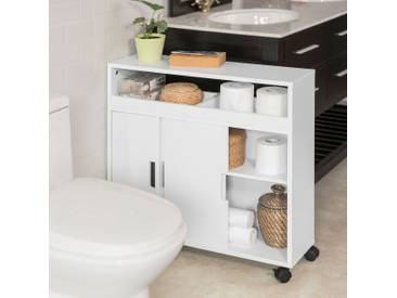 SoBuy Nischenregal Badezimmerschrank Toilettenpapierhalter stehend mit bürste BHT 20x71x70cm rollbar BZR02-W