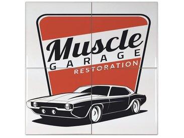 Fliese Kachel Garage Werkstatt Keramik bedruckt 15x15 cm Tankstelle