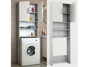 ICCO Waschmaschinenschrank Grau Beton 190 x 64 cm - Badregal Hochschrank Waschmaschine Bad Schrank Badezimmerschrank Überbau