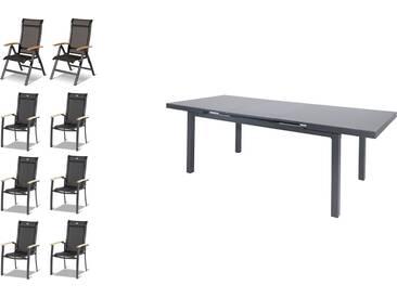 HARTMAN Alice Esstischgarnitur, xerix, Alu/Textilene, Tisch 180/240x100cm, 6 Stapel-, 2 Multipositionssessel