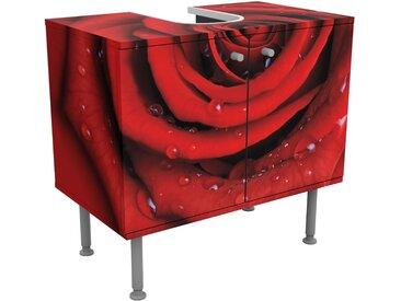 Rosen Waschbeckenunterschrank - Rote Rose mit Wassertropfen - Blumenbild Badschrank Rot, Größe:55cm x 60cm
