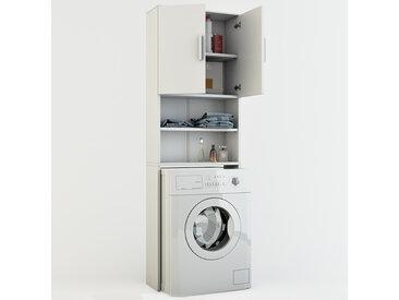 VICCO Waschmaschinenschrank Weiß 190 x 64 cm - Badregal Hochschrank Waschmaschine Bad Schrank Badezimmerschrank Überbau