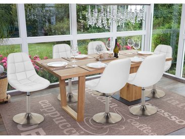 6x Esszimmerstuhl HWC-A60, Stuhl Drehstuhl  Kunstleder weiß, Fuß gebürstet