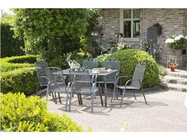 Gartengruppe Toulouse 7tlg. eisengrau Tisch 140x90cm Stapelstühle Streckmetall