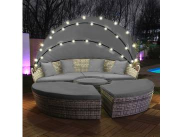 LED - Sonneninsel Rattan Lounge Polyrattan Sitzgruppe Liege Insel 180cm inkl. Abdeckcover