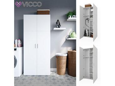 Vicco Schrank Ingo weiß - Schrank 2 Türen Universal Mehrzweckschrank Staubsauger Wirtschaftsschrank