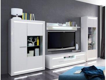 Wohnwand Livorno 20 Hochglanz weiß 4-teilig TV-Wand LED-Beleuchtung, Beleuchtung:mit Glasbodenbeleuchtung