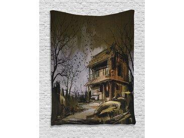 ABAKUHAUS Rustikal Wandteppich, Hölzernes Geisterhaus, Wohnzimmer Schlafzimmer Heim Seidiges Satin Wandteppich, 100 x 150 cm, Mehrfarbig