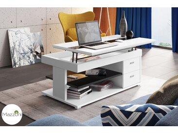 Design Couchtisch Multifunktionstisch Arbeitstisch Tisch Sila Weiß / Schwarz Hochglanz Ablagefläche Schubladen Stauraum Esstisch