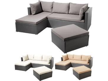 POLY RATTAN Garnitur Alu-Gestell Gartenlounge Lounge Sofa Gartenmöbel Garten Set, Modell:Beige