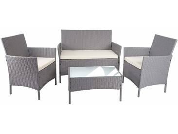 Poly-Rattan Garten-Garnitur HWC-D82, Sitzgruppe Lounge-Garnitur  grau mit Kissen creme
