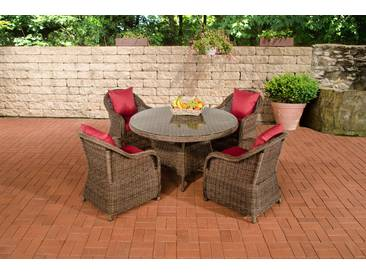 Garten-Garnitur CP070, Sitzgruppe Lounge-Garnitur Poly-Rattan  Kissen rubinrot, braun-meliert