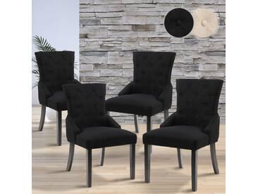 MIADOMODO Esszimmerstühle   Setwahl (4er), Farbwahl (Schwarz)   aus Stoff und Kieferholz in Retro Design   Sitzgruppe, Hochlehner, Stühle, Küchenstühle, Lehnstuhl