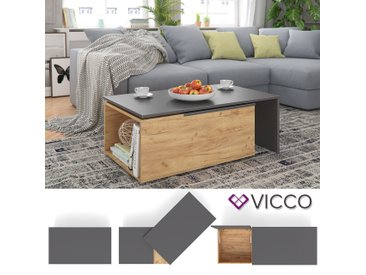 Vicco Couchtisch 60x100 cm Wohnzimmertisch Beistelltisch Kaffetisch Holztisch +++ INKL DREHBARER PLATTE UND EXTRA STAURAUM +++ (Anthrazit/Sandeiche)