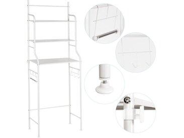 WYCTIN Toilettenregal mit 3 Ablagen, Waschmaschinen-Regal Ständer WC-Regal ,Waschmaschinenüberbau Badregal, weiß