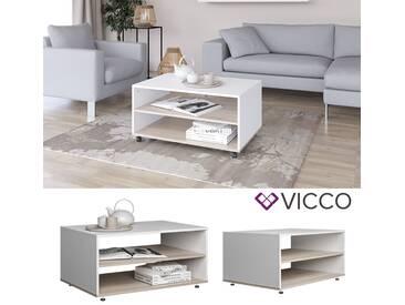 VICCO Couchtisch MADDOX Weiß/Sonoma Wohnzimmer Sofatisch Kaffeetisch 90 x 60 cm