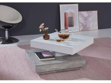 Stubentisch Universal Beton Weiß drehbar mit Ablage Couchtisch Wohnzimmer