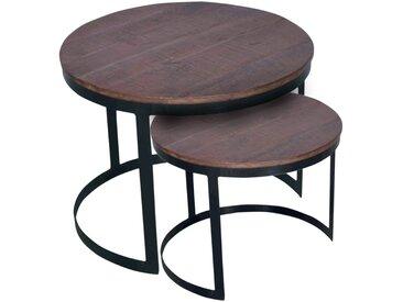 Soma Couchtisch 2er Set Beistelltisch Wohnzimmer-Tisch-Set rund Austin Metall-Gestell altsilber (BxHxL) 58 x 46 x 58 cm braun - bassano