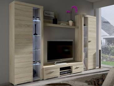 Mirjan24 Wohnwand Farso XL, Modernes Wohnzimmer-Set, Schrankwand, Stilvoll Mediawand, TV-Möbel (ohne Beleuchtung, Sonoma Eiche)