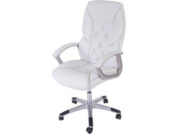 Profi-Bürostuhl L42 XXL, Chefsessel Drehstuhl, 150kg belastbar Kunstleder  weiß